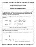 Basic Math Skills Review #2:  Algebraic Fractions