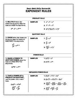 Basic Math Skills Review #4: Exponents