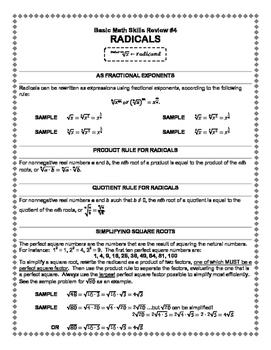 Basic Math Skills Review #5: Radicals