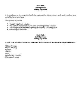 Basic Math: Solving Linear Equations Unit Objectives & Keywords