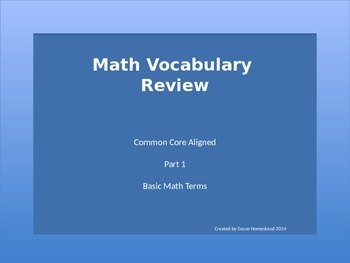 Basic Math Vocabulary Common Core Aligned ~ Power Point