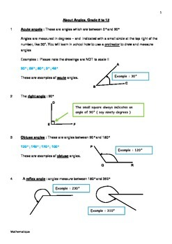 Basic Maths Explanation: About Angles Grade 5-12