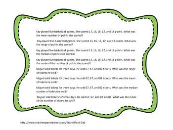 Basic Mean, Median, Mode and Range Word Problem Task Cards