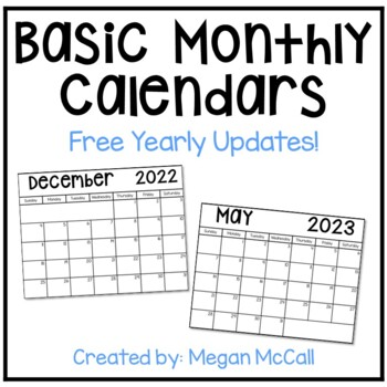 2018 2019 basic monthly calendar with free yearly updates black