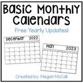 2019-2020 Basic Monthly Calendar with Free Yearly Updates