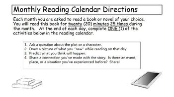 Basic Monthly Reading Calendar