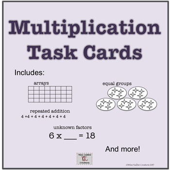 Basic Multiplication Concepts Task Cards for Math Centers 3rd Grade