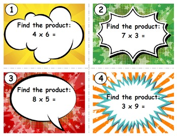 Basic Multiplication & Division Comic Task Cards Combo Pack