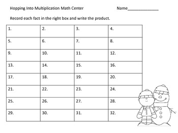 Basic Multiplication Facts Center and Worksheets--Winter Theme