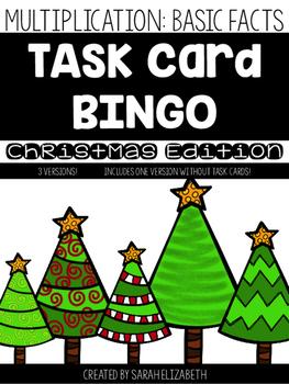 Basic Multiplication Facts Task Card Bingo: Christmas Edition