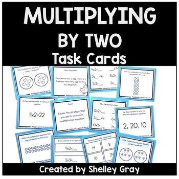 Basic Multiplication Facts Task Cards: Multiplying by 2