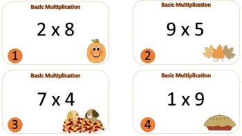 Basic Multiplication Tash Cards {{Autumn / Thanksgiving Themed}}