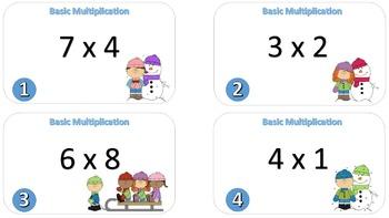 Basic Multiplication Task Cards {Winter Themed}