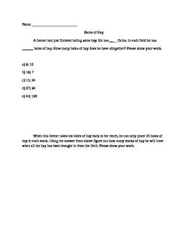Basic Multiplication Word Problem