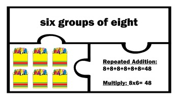 Basic Multiplication Work Station puzzle Arrays Repeated Addition 2nd 3rd Grade