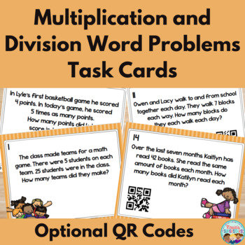 Basic Multiplication and Division Word Problem Task Cards With QR Codes