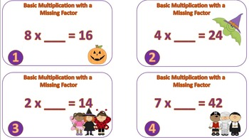 Basic Multiplication with a Missing Factor Task Cards {{Halloween Themed}}