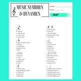 Basic Music Symbols & Dynamics Test, lower secondary