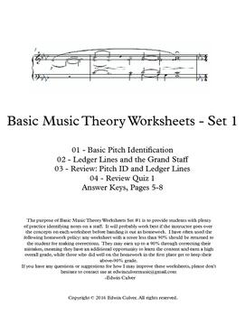 Basic Music Theory Worksheets - Set 1