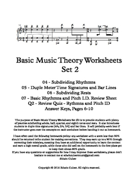 Basic Music Theory Worksheets - Set 2 (Rhythmns)