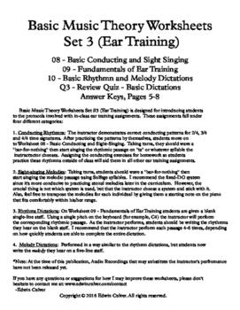 Basic Music Theory Worksheets - Set 3 (Ear Training)