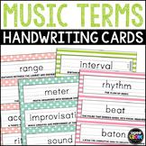 31 Music Term Tracing Cards, Handwriting Activities