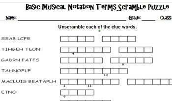 Basic Music Theory Terms Quiz and Puzzles