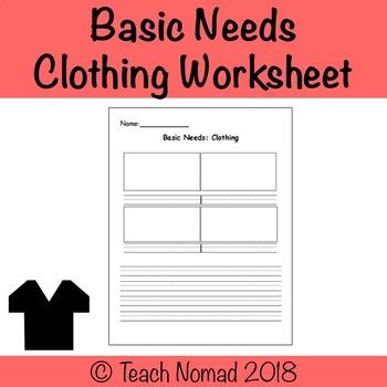 Social Studies Basic Needs (Clothing) - Graphic Organizer