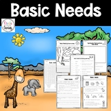Basic Needs of living organisms Free Draw and vocabulary worksheet