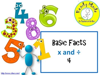 Basic Number Facts Warm Up PowerPoints Multiply and Divide 4