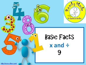 Basic Number Facts Warm Up PowerPoints Multiply and Divide 9