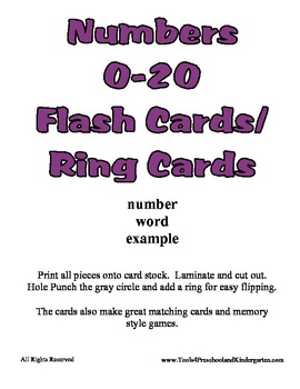 Basic Number Ring Cards - Counting to 20 - Preschool Kindergarten - Math Center
