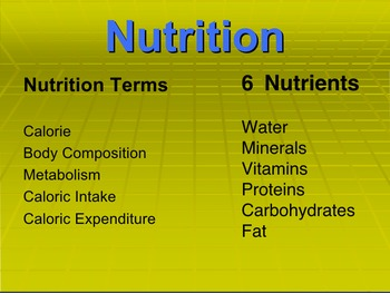 Basic Nutriton Presentation; Powerpoint