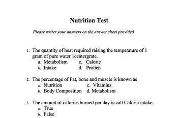 Basic Nutriton Test