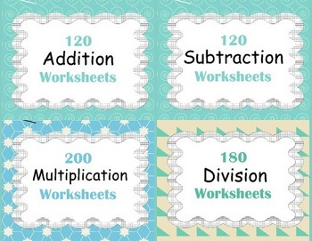 Basic Operations Worksheets - Addition, Subtraction, Multiplication, Division
