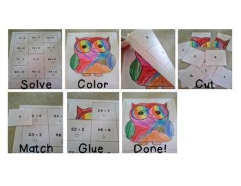 Basic Operations Craftivity Solve, Color, Cut, Glue!