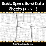 Basic Operations Data Sheets (Addition, Subtraction, Multiplication & Division)