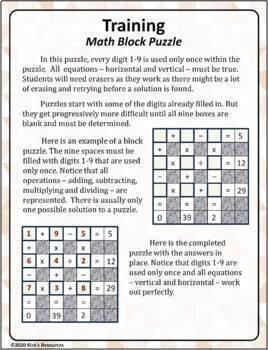 Math Puzzles Basic Operations Set 3:  Block Puzzles