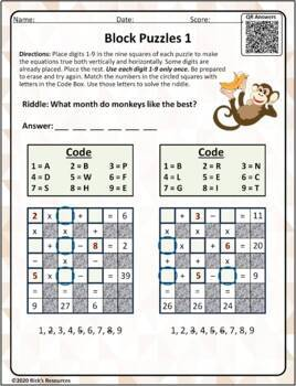 Math Puzzles Basic Operations Add, Subtract, Multiply, Divide - Block Puzzles