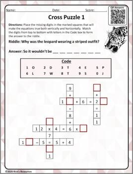Math Puzzles Basic Operations Set 2: Cross Puzzles