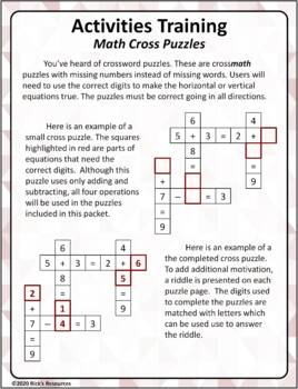 Math Puzzles Basic Operations - Add, Subtract, Multiply, Divide Cross Puzzles