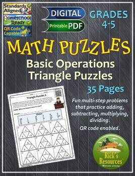 Math Puzzles Basic Operations Set 1: Triangle Puzzles