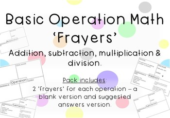 Basic Operations Maths 'Frayers' - Dollar Deals