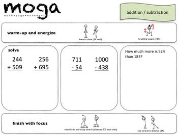 Basic Ops MOGA: Gr. 3-4 (Math/Yoga to Add, Subtract, Multiply)