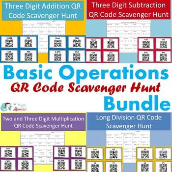 Basic Operations QR Code Scavenger Hunt 4 Pack BUNDLE