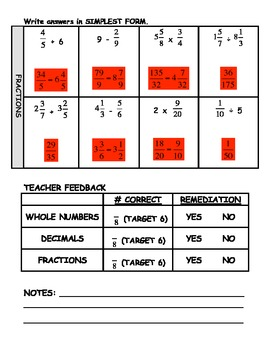 Basic Operations Skills Pre-Test (Whole Numbers, Fractions, and Decimals)