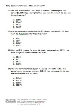 Basic Operations and Word Problem Test