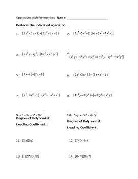 Basic Operations With Polynomials Worksheet Tpt