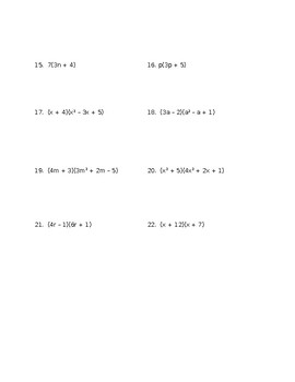 Basic Operations with Polynomials Worksheet