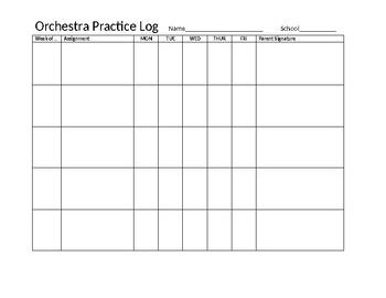 Basic Orchestra Practice Log - Customizable